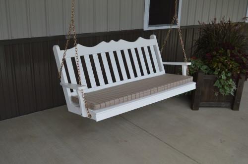 6' Royal English Garden Yellow Pine Porch Swing - White w/ Cushion
