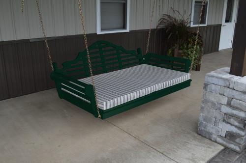 4' Marlboro Yellow Pine Porch Swingbed - Dark Green w/ Cushion