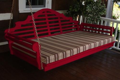 "75"" Marlboro Single Mattress Yellow Pine Swingbed - Tractor Red w/ Cushion"
