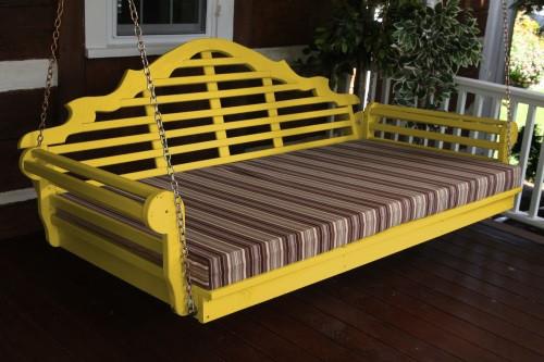 "75"" Marlboro Single Mattress Yellow Pine Swingbed - Canary Yellow w/ Cushion"