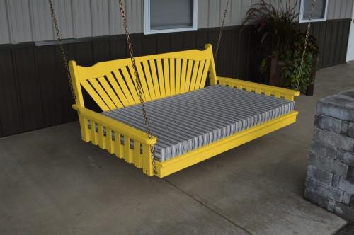 6' Fanback Yellow Pine Swingbed - Canary Yellow w/ Cushion