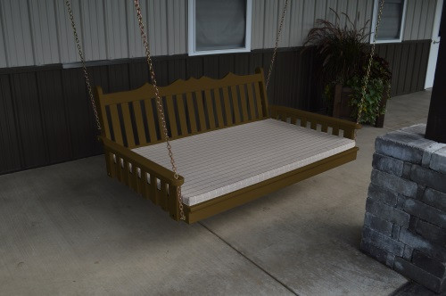 6' Royal English Garden Yellow Pine Swingbed - Coffee w/ Cushion
