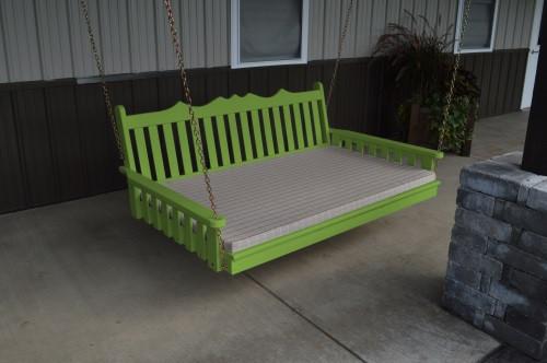 5' Royal English Garden Yellow Pine Swingbed - Lime Green w/ Cushion