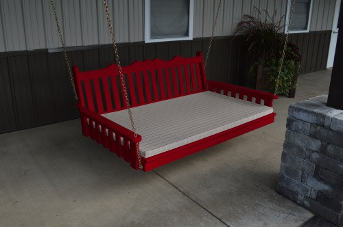 5' Royal English Garden Yellow Pine Swingbed - Tractor Red w/ Cushion
