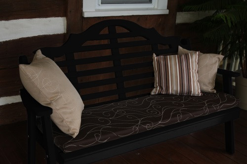 6' Marlboro Yellow Pine Garden Bench - Black w/ Cushion