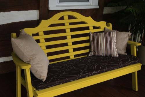 6' Marlboro Yellow Pine Garden Bench - Canary Yellow w/ Cushion