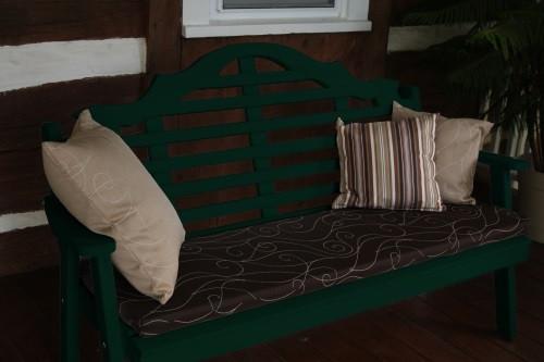 6' Marlboro Yellow Pine Garden Bench - Dark Green w/ Cushion