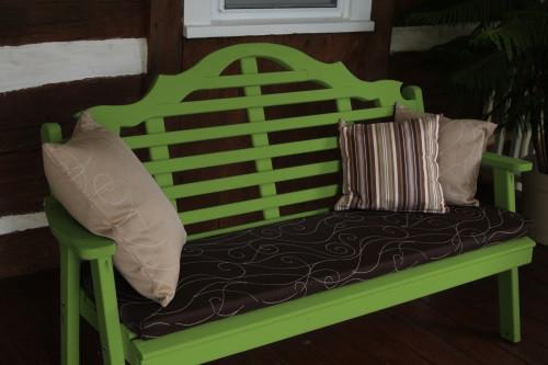 6' Marlboro Yellow Pine Garden Bench - Lime Green w/ Cushion