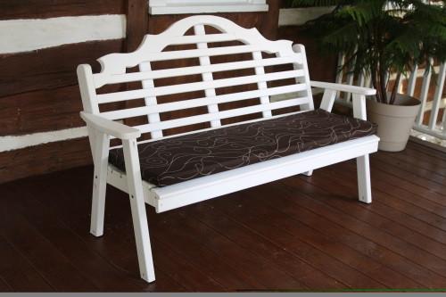 6' Marlboro Yellow Pine Garden Bench - White w/ Cushion