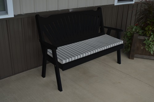 4' Fanback Yellow Pine Garden Bench - Black