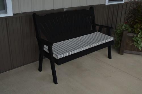 5' Fanback Yellow Pine Garden Bench - Black w/ Cushion
