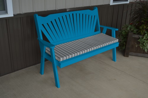 4' Fanback Yellow Pine Garden Bench - Carribbean Blue