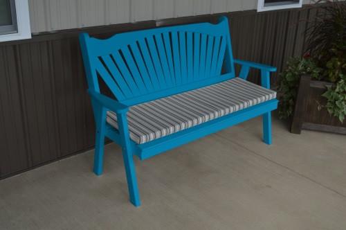 5' Fanback Yellow Pine Garden Bench - Caribbean Blue w/ Cushion