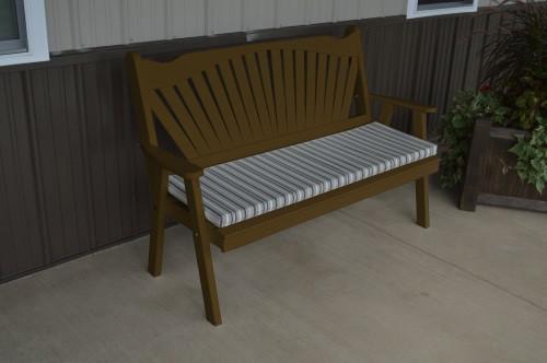 5' Fanback Yellow Pine Garden Bench - Coffee w/ Cushion