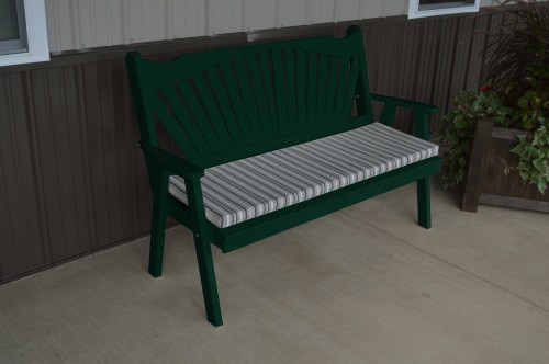 4' Fanback Yellow Pine Garden Bench - Dark Green
