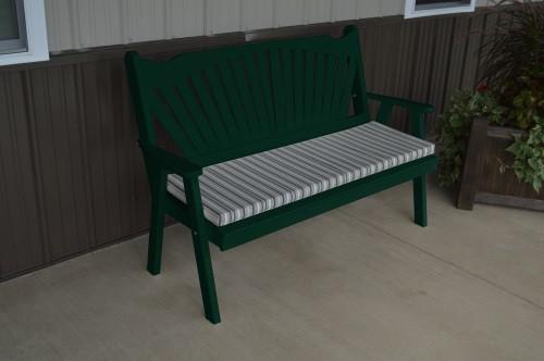 5' Fanback Yellow Pine Garden Bench - Dark Green w/ Cushion