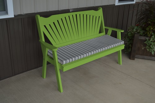 4' Fanback Yellow Pine Garden Bench - Lime Green