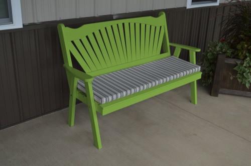 5' Fanback Yellow Pine Garden Bench - Lime Green w/ Cushion
