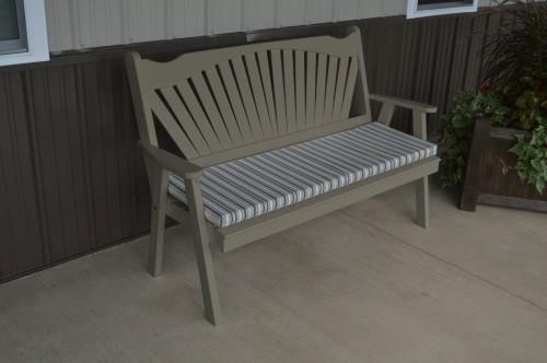 5' Fanback Yellow Pine Garden Bench - Olive Gray w/ Cushion