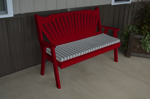 4' Fanback Yellow Pine Garden Bench - Tractor Red