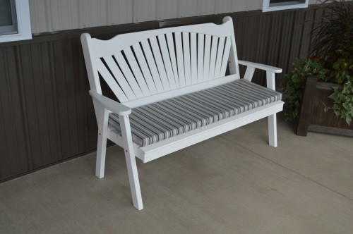 4' Fanback Yellow Pine Garden Bench - White