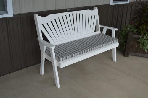 5' Fanback Yellow Pine Garden Bench - White w/ Cushion