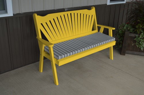4' Fanback Yellow Pine Garden Bench - Canary Yellow w/ Cushion