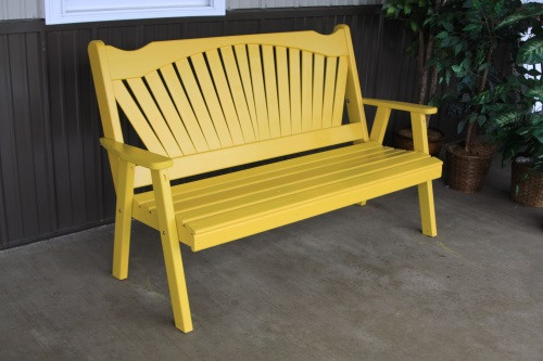 4' Fanback Yellow Pine Garden Bench - Canary Yellow
