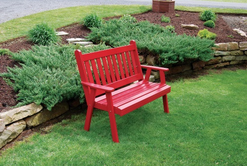 4' Traditional English Yellow Pine Garden Bench - Tractor Red