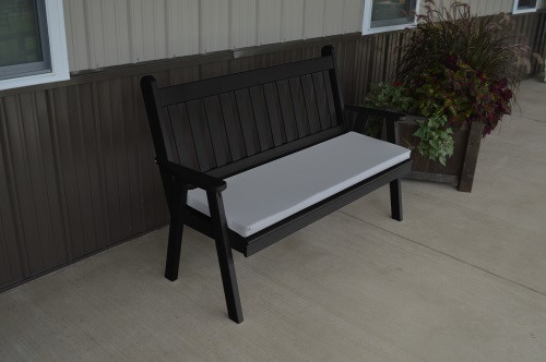 5' Traditional English Yellow Pine Garden Bench - Black w/ Cushion