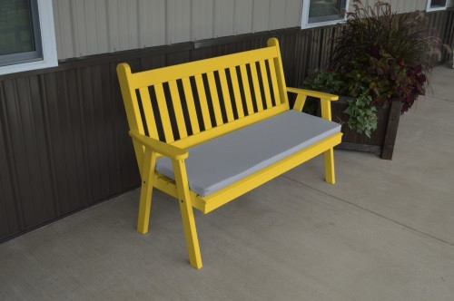 5' Traditional English Yellow Pine Garden Bench - Canary Yellow w/ Cushion