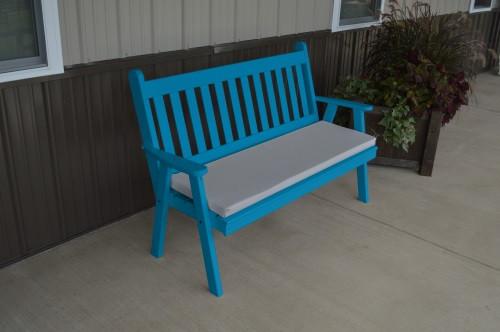 6' Traditional English Yellow Pine Garden Bench - Caribbean Blue w/ Cushion