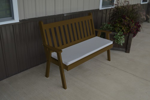 5' Traditional English Yellow Pine Garden Bench - Coffee w/ Cushion