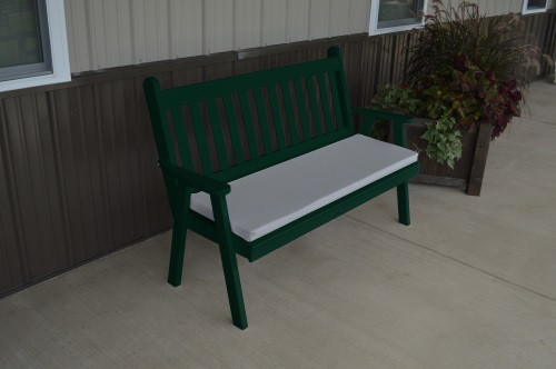 5' Traditional English Yellow Pine Garden Bench - Dark Green w/ Cushion