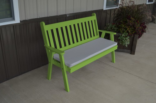 5' Traditional English Yellow Pine Garden Bench - Lime Green w/ Cushion