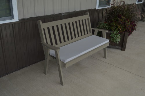 5' Traditional English Yellow Pine Garden Bench - Olive Gray w/ Cushion