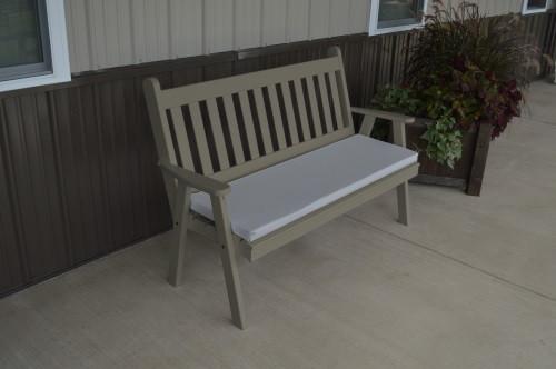 6' Traditional English Yellow Pine Garden Bench - Olive Gray w/ Cushion