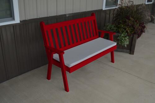 5' Traditional English Yellow Pine Garden Bench - Tractor Red w/ Cushion