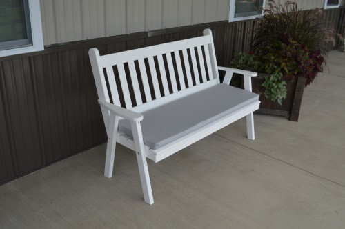 5' Traditional English Yellow Pine Garden Bench - White w/ Cushion