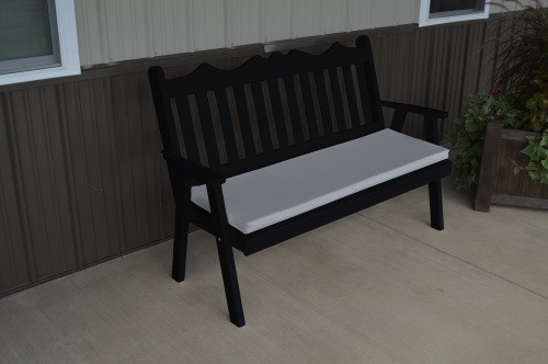 4' Royal English Yellow Pine Garden Bench - Black w/ Cushion