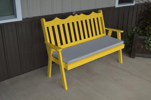 4' Royal English Yellow Pine Garden Bench - Canary Yellow w/ Cushion