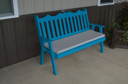 4' Royal English Yellow Pine Garden Bench - Caribbean Blue w/ Cushion