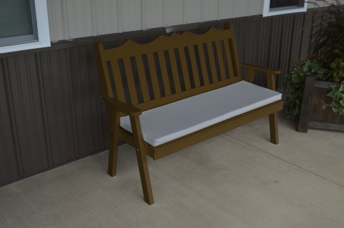 4' Royal English Yellow Pine Garden Bench - Coffee w/ Cushion
