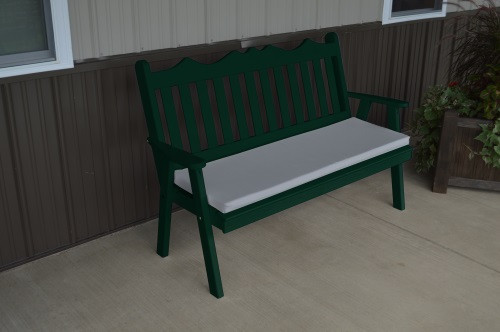 4' Royal English Yellow Pine Garden Bench - Dark Green w/ Cushion