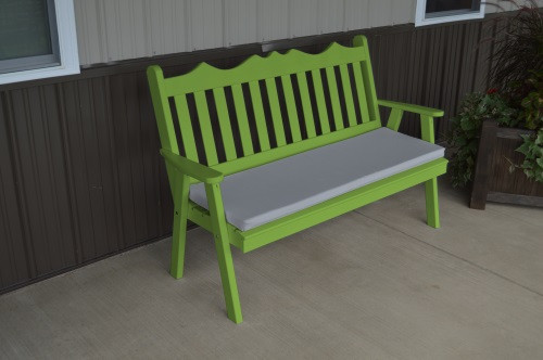 4' Royal English Yellow Pine Garden Bench - Lime Green w/ Cushion