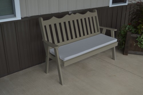 4' Royal English Yellow Pine Garden Bench - Olive Gray w/ Cushion