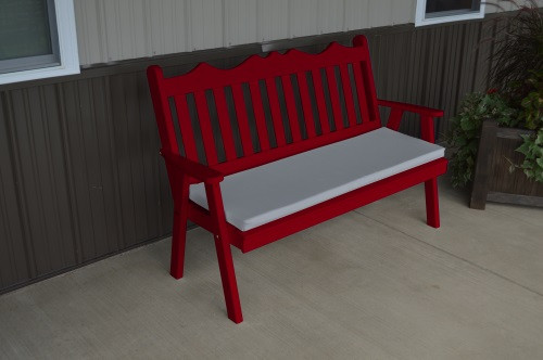 4' Royal English Yellow Pine Garden Bench - Tractor Red w/ Cushion