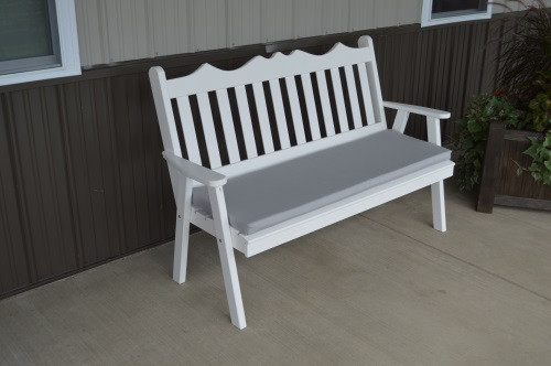 4' Royal English Yellow Pine Garden Bench - White w/ Cushion