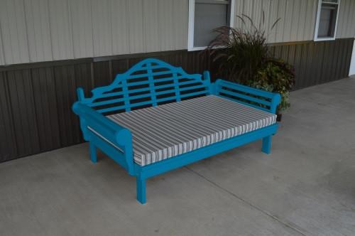 5' Marlboro Yellow Pine Daybed - Carribbean Blue w/ Cushion