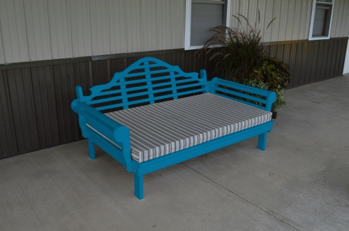 6' Marlboro Yellow Pine Daybed - Carribbean Blue w/ Cushion